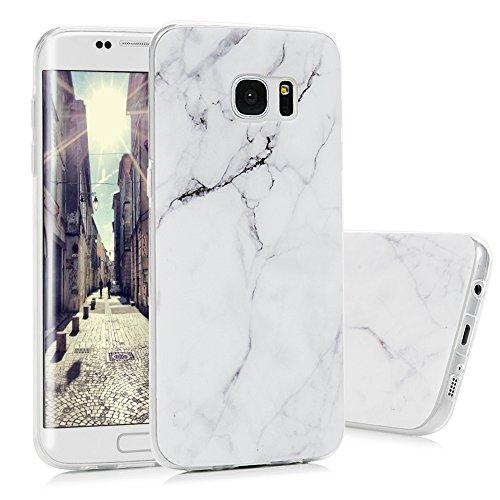 S7 Edge Marmor Hülle, KASOS Marble Handyhülle : Silikon Case Weich TPU Huelle mit IMD Technologie für Samsung Galaxy S7 EdgeWeiß