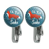 Oh For Fox Sake Funny on Teal Novelty Clip-On Stud Earrings