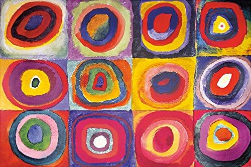 Wassily Kandinsky - Studio sul Colore, Quadrati con Cerchi Concentrici, 1913 Carta da Parati Adesiva (180 x 120cm)