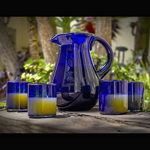Glasmanufaktur Mitienda, Kanne, Karaffe Birne Blau, Wasserkaraffe 21,5cm, Krug, Mundgeblasenes Glas Aus Mexiko, HANDMADE, Glas-Recycling