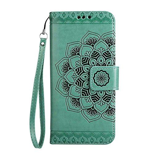 Custodia iPhone 8 Plus[Protezione Libera dello Schermo], ESSTORE-EU Premium Portafoglio Protettiva Cover Custodia, Retrò Mandala Flip Wallet Case Custodia in Pelle per Apple iPhone 8 Plus (2017) - Con Verde