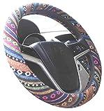 Istn 2018 Pequeño 36cm estilo étnico grueso lino paño automotriz cubierta del volante anti deslizamiento y absorción del sudor Auto Car cubierta para el Prius, Civic, Camaro (G, 14 '' - 14.25)