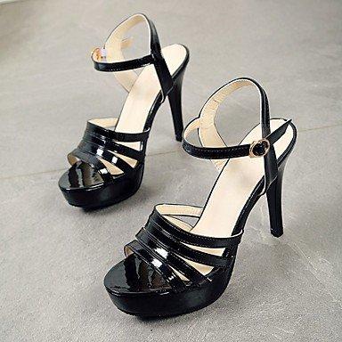Femmes Sandales Sandales pour femme Talon d'été Club Chaussures Gladiator Chaussures Confort fantaisie Patent Leatherwedding Bureau & carrière de fête et soirée, noir