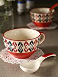 Handpainted Red Soup Bowl With Spoon (Se...