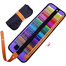 Coloured Pencils Set,Rock Ninja 50 Art Grade Colouring Pencils with Premium Black Roll-Up Canvas Case for Artists, Children & Adults, according to DIN EN71,with Sharpener