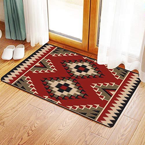 Tappeto da bagno doccia antiscivolo assorbito tappeto, afghano, medio oriente folklore pixel art triangoli stile afgano illustraz,tappeto in microfibra per vasca da bagno doccia bagno 120x40 cm