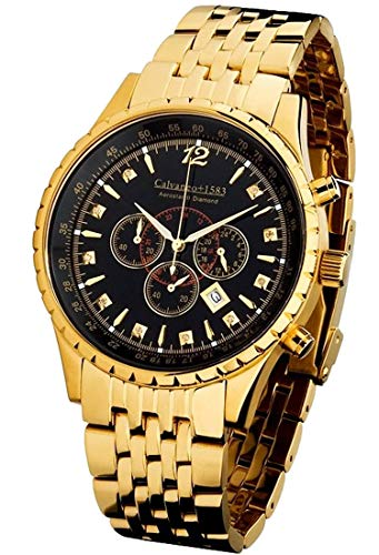 Calvaneo 1583 Aerostar II Diamond Gold Black Massiver verg. Diamant Chronograph