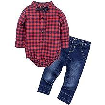 BIG ELEPHANT Bebés Juego de ropa de la camisa de los pantalones vaqueros de 2 pedazos con Corbata de moño G24