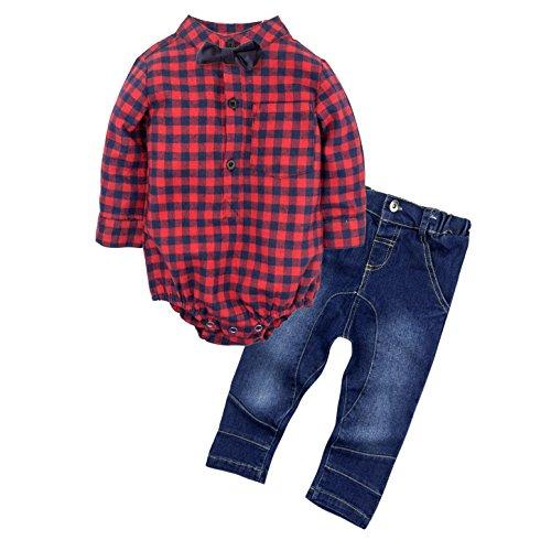 BIG ELEPHANT Bebé Chicos' Juego de ropa de camisa de 2 piezas Jeans con Bowtie G24 6-12 meses