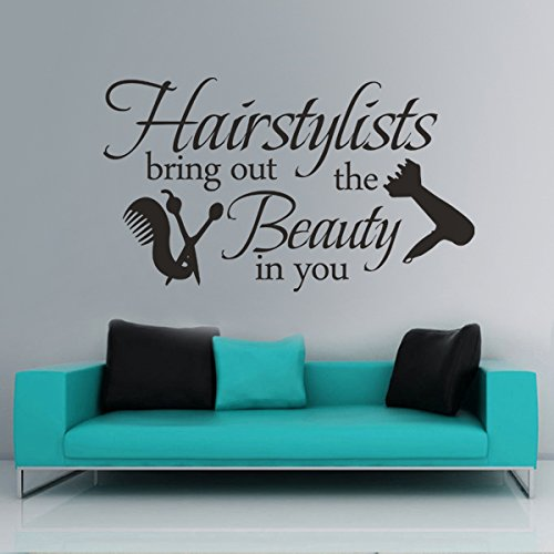 Mairgwall hairstylists adesivo in vinile bring out salone di bellezza parrucchiere shop d ¨ ¦ cor, vinile, black, 33