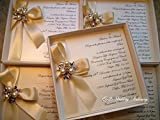 Luxury Boxed Wedding Invitation with Satin Ribbon and Pearl & Diamanté Brooch.