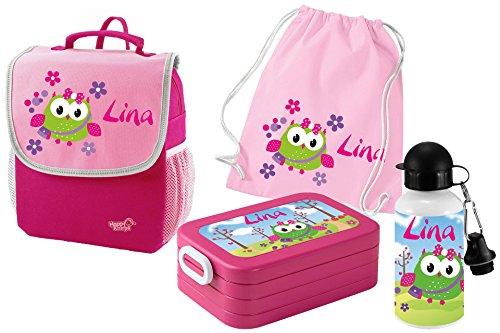 Mein Zwergenland Set 5 Kindergartenrucksack mit Brotdose, Turnbeutel aus Baumwolle und Trinkflasche Happy Knirps Next mit Name Eule, 4-teilig, Pink