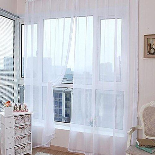 Vorhänge, OVERMAL 1 PCS reine Farbe Tüll Tür Fenster Vorhänge Drapieren Platte schiere Schal Valances (100 x 200 cm, Weiß) (Schiere Vorhang Platten Weiß)