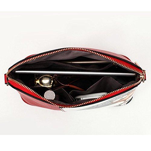 Dame-Pers5onlichkeit-Druck-Art- Und Weisekarikatur-PU-Shell-Beutel-diagonale Schulter-weibliche Schulter-Beutel Red