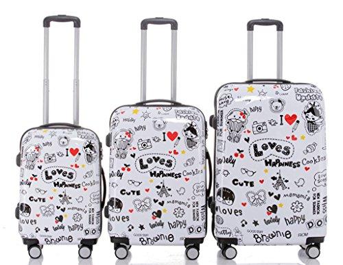 Maleta de viaje 2060,rígida, en 12 motivos, XL, L, M love 3er Set(XL+L+M)