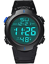 Fami-Montre Fashion Waterproof Men's Boy LCD Chronomètre numérique Date Montre bracelet en caoutchouc Sport (Bleu)