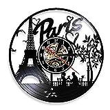Vandelkt París Torre Eiffel Decoración De Pared FranciaSkyline Vinyl Record Reloj De Pared París Ciudad del Amor Regalo TurísticoSalón Reloj De Pared Sin Led