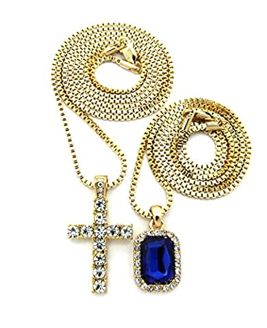 Iced Out Faux Sapphire Stone & Single Row Cross Pendant Set 2mm 61cm & 76cm Box Chains in Gold-Tone