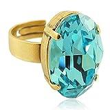 nobel-schmuck Damen-Ring mit Kristall von Swarovski® Türkis Gold Größe Variabel