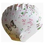 Unisex wasserdicht Anti-Rutsch Silikon Schmetterling Blumenmuster Badekappe Hat für langes Haar M weiß