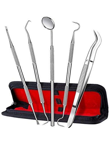 ElleSye 5er Zahnsteinentferner Zahnpflege Set Dental Set Dental/Zahnarzt Instrument Zahnreinigung Zahnreinigungsset Zahnpflege Zahnstein Edelstahl lebenslange Garantie