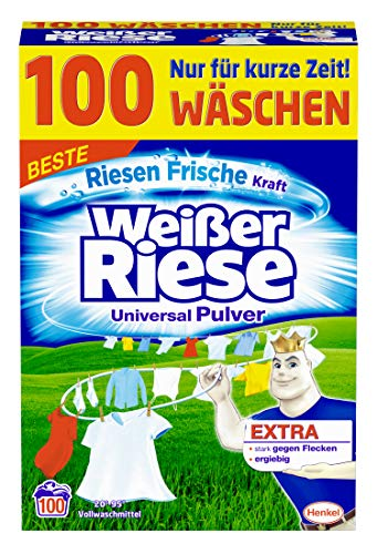 Weißer Riese Universal Pulver Waschmittel, 1er Pack (1 x 100 Waschladungen) - 100% Pulver
