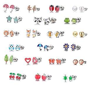 30 Paar Ohrstecker aus Edelstahl – Süßes Tier – Herzform – Roségold, Weiße, Golde Perle – Ohrringe Set für Kleine Mädchen
