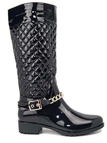 Damen-Stiefel, gesteppt, Regenstiefel, mit Schnallen, Reißverschluss, Größe 36-41 Schwarz (Black Pu)