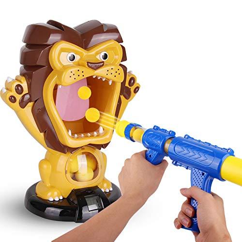 Traioy Luft-Schaum-Ball-Schießen-Spielzeug, Luft-Pumpen-Spielzeug, das Löwe hungrigen Zielschirm für Kinder, mit 12 Eva-Schaum-Kugeln schießt -