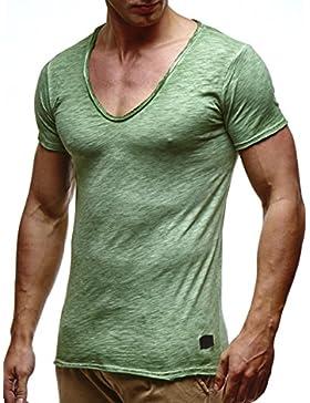 LEIF NELSON Herren oversize verwaschene T-Shirts tiefer V-Ausschnitt Shirts Basic LN6280-1