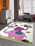 Kinderteppich Spielteppich Kinderzimmer Teppich Elefanten Design Creme Rosa Pink Grün Türkis Schwarz Größe 140 cm Quadrat