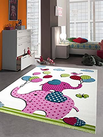Kinderteppich Spielteppich Kinderzimmer Teppich Elefanten Design Creme Rosa Pink Grün Türkis Schwarz Größe 140x200