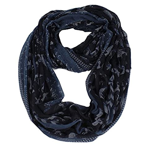 Frauen 'S Xmas Thema Ast Print Viskose weicher Infinity Loop Kaminabdeckung Kreis Casual Schal Gr. M, Blau - Navy