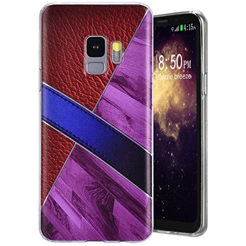 Coque pour Samsung Galaxy S9, MeganStore Patchwork Géométrique Multicolore Étui Ultra Mince Léger Silicone TPU Souple Bumper Antichoc Anti-Rayures Housse pour Samsung Galaxy S9(G960), Vin Rouge+Violet