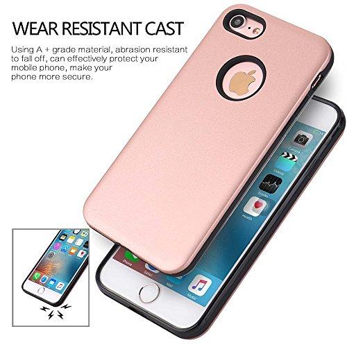 "MOONCASE iPhone 7 Coque, Ultra Slim Robuste Armure Defender Housse Antirayures Antichoc Silicone Protection Case pour iPhone 7 4.7"" Beige Or Rose"