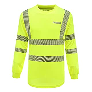 AYKRM Hi Vis High Viz Visibility Long Sleeve Safety Work T Shirt EN20471 hi vis t Shirts (M, Yellow)