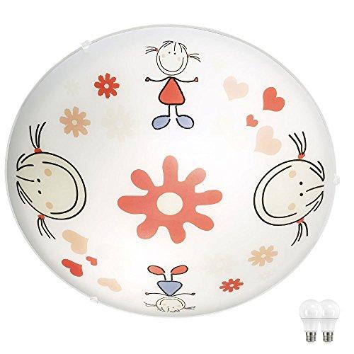 Kinder Decken Lampe Mädchen Motiv Spiel Zimmer Glas Wand Leuchte im Set inkl. LED Leuchtmittel