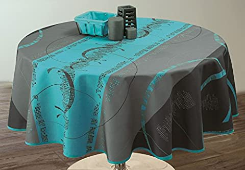 Nappe anti-taches Astrid turquoise - taille : Ovale 150x240 cm