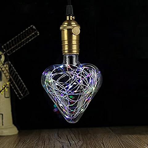 Decorative Light Bulbs,XinRong Copper Wire Edison Bulb Sweet Heart Shaped E27 2W Energy-Saving Lighting Indoor (Hanging Media Base Socket)