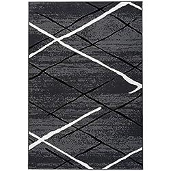 Tapis modernes Stripes Argyle design Anthracite Noir Blanc Beige Gris Brun