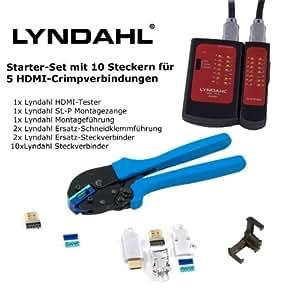 Lyndahl kit dIY avec 10 sL-p, connecteurs hDMI câble hDMI 1.4/sertir soi-préparer, même en sET avec sL-p pince de montage hDMI-hDMI-connecteur testeur et bien plus