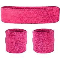 suddora Juego de Sweatband Diadema (1/2pulseras) rosa neón