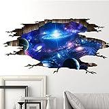 TWBB 3D nach Hause blauer Himmelweiße Wolken UniversumNacht Wanddekoration Bodenaufkleber Wandaufkleber (D)