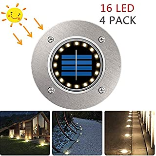 Solar Lights Outdoor, POWERAXIS Solar Ground Lights 16 LED Outdoor Ground Solar Garden Lights IP65 Waterproof Outdoor LED Solar Path Decking Landscape Lamp, Cool White 4PACK