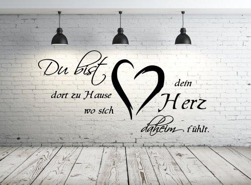 Wandtattoo 68137-58×29 cm, Zitate ~ Du bist dort zu Hause wo sich dein Herz daheim fühlt ~ Wandaufkleber Aufkleber für die Wand, Tapetensticker aus Markenfolie, 32 Farben wählbar