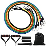 11 PCS Widerstand Band Set, 5 Übungsbänder bis 45,4 kg, mit Tür Anker, Schaumstoff-Griffe, Ankle Straps und Tragetasche, Widerstand Training, Home Fitnessraum Workouts Fitness Yoga