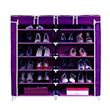 #7: House of Quirk 6-Tiers 2 Rows Doors Shoe Rack with Dustproof Cover Closet ,36-Pair Shoes Rack Storage Cabinet Organizer(Purple)