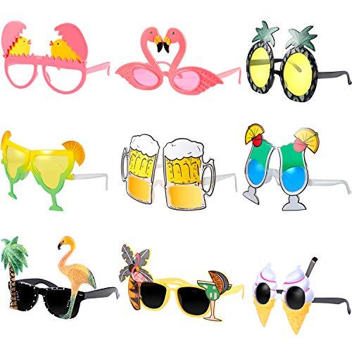 Hsei 9 Stücke Hawaiian Thema Sonnenbrille Lustige Kostüm Sonnenbrille Tropische Luau Sommer Party Sonnenbrille für Strand Fantastische Kleidung Party Zubehör (Kunststoff Flamingo Kostüm)
