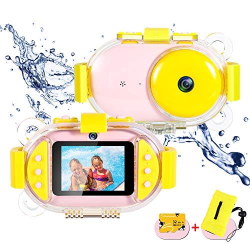 ROTEK Kinder Kamera, 2,4 inch IPS HD Bildschirm Kinderkamera 800W Pixel Dual Selfie 1080P Videofunktion Wasserdicht Spielzeug Digitalkamera Kinder 32GB Karte Digitalkamera Geschenk für Jungen Mädchen (Kinder-digitalkamera Jungen Für)