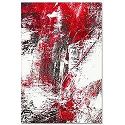 deinebilder24 Leinwand-Bild Einteilig - 120 x 80 cm - Abstraktes Gemälde Rot,Weiß,Silber
